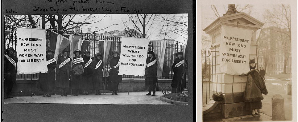 Suffragists in front of the White House - part of a day trip following the suffragist movement in DC - WWP
